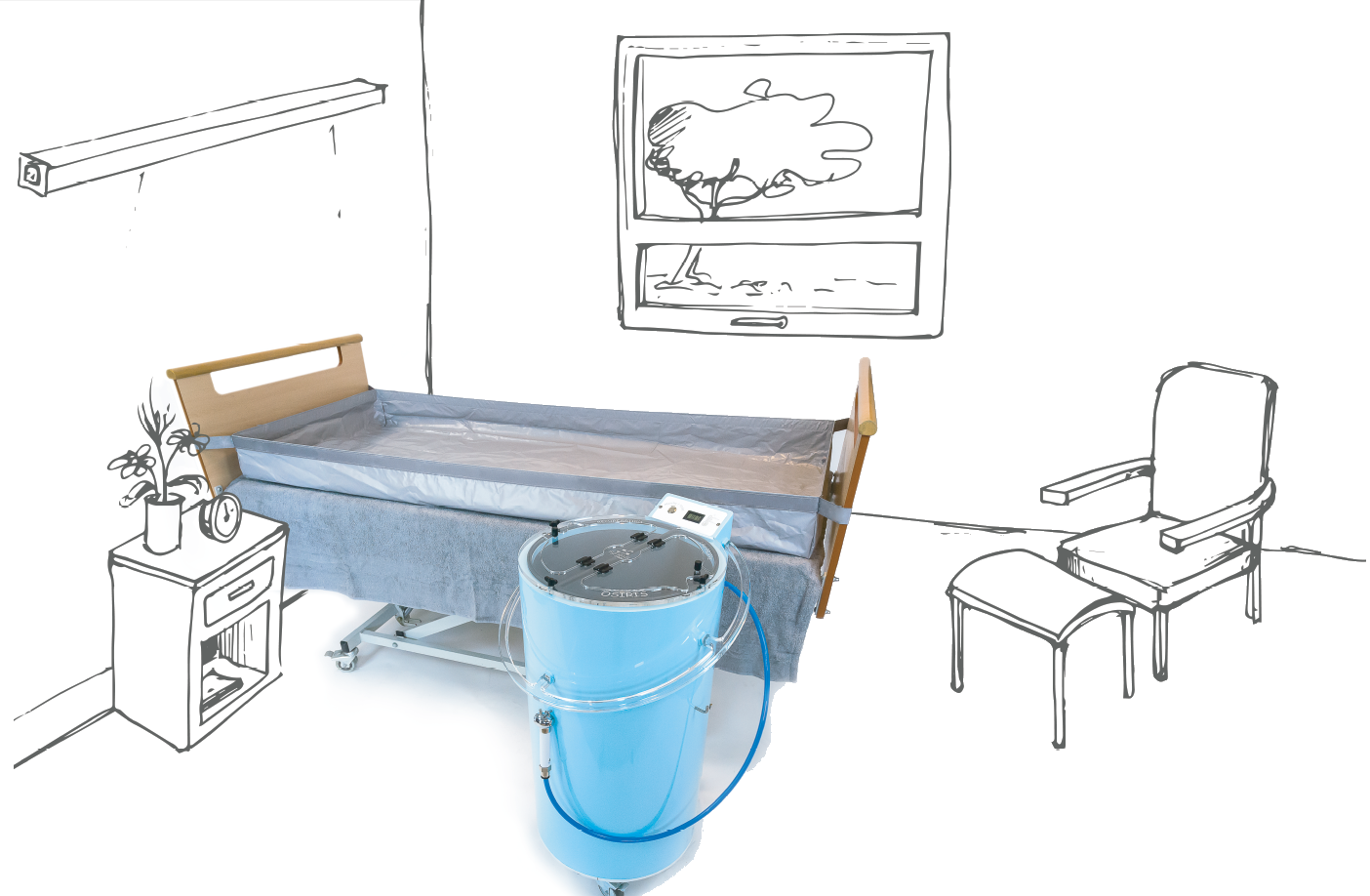 Osiris, Synoxis Médical, Dispositif médical, douche aux lits